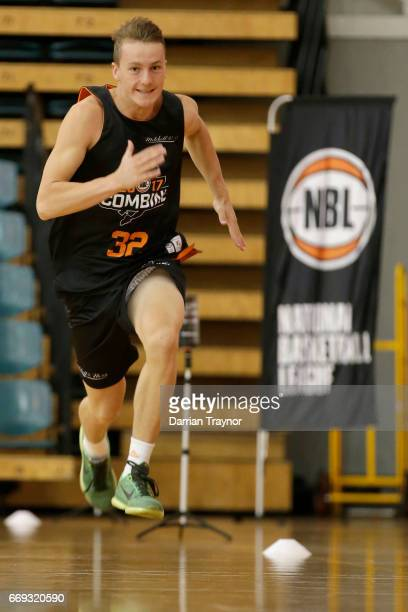 Alexander Mudronja does his sprint testing during the NBL Combine 2017/18 at Melbourne Sports and Aquatic Centre on April 17 2017 in Melbourne...