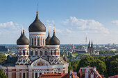 A view towards Alexander Nevsky Cathedral in Tallinn, Estonia, an orthodox church built in the late 19th century.