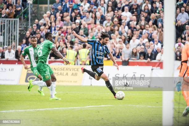 Alexander Nilsson of IK Sirius FK shoots during the Allsvenskan match between IK Sirius FK and Hammarby IF at Studenternas IP on May 21 2017 in...