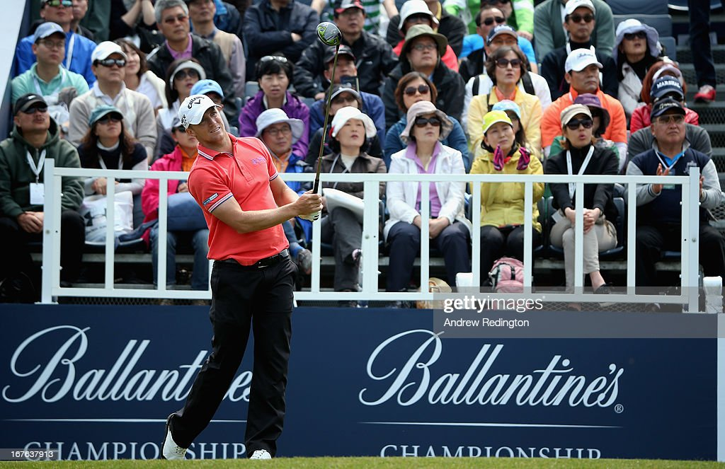 Alexander Noren of Sweden hits his tee-shot on the first hole during the third round of the Ballantine's Championship at Blackstone Golf Club on April 27, 2013 in Icheon, South Korea.