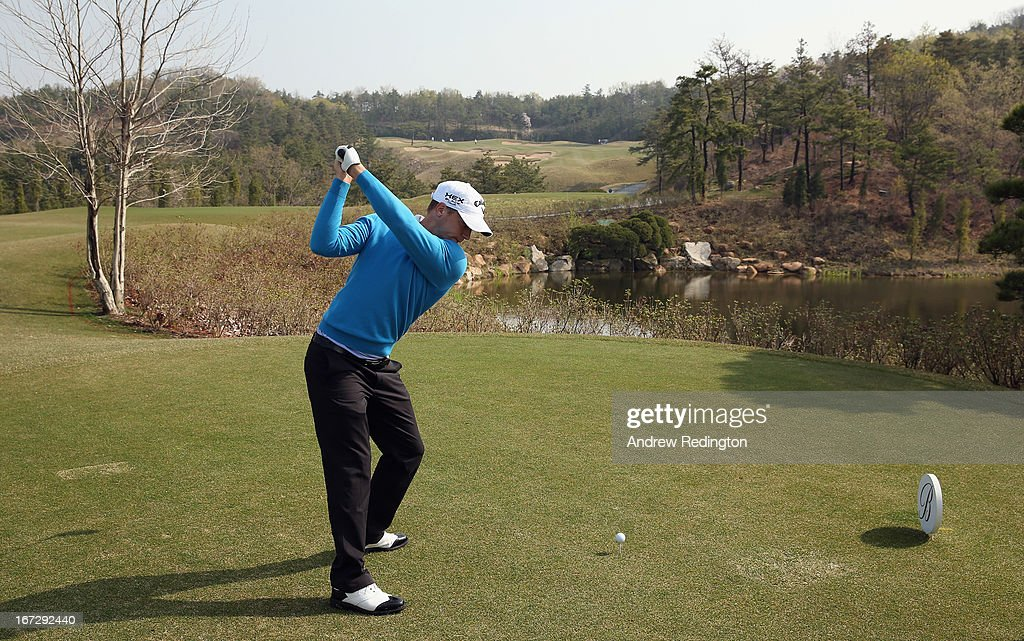 Alexander Noren of Sweden in action during the Pro Am tournament prior to the start of the Ballantine's Championship at Blackstone Golf Club on April 24, 2013 in Icheon, South Korea.