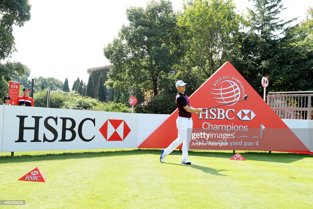Alexander Noren of Sweden plays a shot during the pro-am prior to the WGC - HSBC Champions at Sheshan International Golf Club on October 25, 2017 in Shanghai, China.