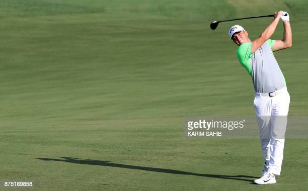 Alexander Noren of Sweden plays a shot during the second round of the DP World Tour Championship at Jumeirah Golf Estates in Dubai on November 17...