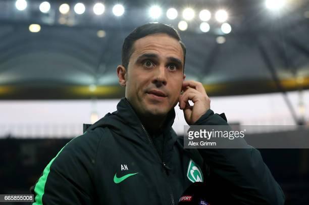 Alexander Nouri head coach of Bremen looks on before the Bundesliga match between Eintracht Frankfurt and Werder Bremen at CommerzbankArena on April...
