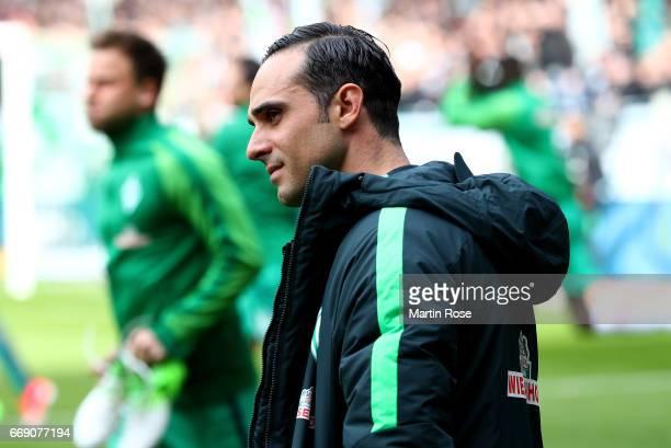 Alexander Nouri head coach of Bremen looks on before the Bundesliga match between Werder Bremen and Hamburger SV at Weserstadion on April 16 2017 in...