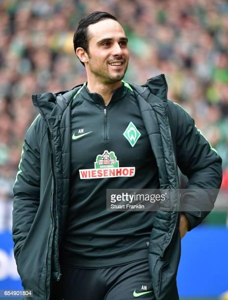 Alexander Nouri head coach of Bremen looks on during the Bundesliga match between Werder Bremen and RB Leipzig at Weserstadion on March 18 2017 in...