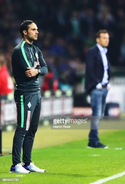 Alexander Nouri head coach of Werder Bremen during the Bundesliga match between Werder Bremen and FC Schalke 04 at Weserstadion on April 4 2017 in...