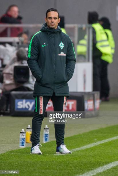 Alexander Nouri head coach of Werder Bremen during the Bundesliga match between FC Ingolstadt 04 and Werder Bremen at Audi Sportpark on April 22 2017...
