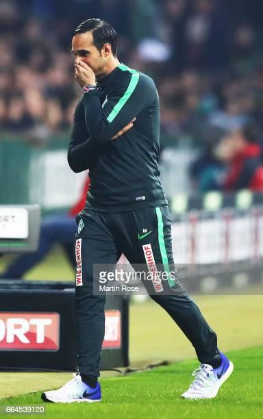 Alexander Nouri head coach of Werder Bremen reacts during the Bundesliga match between Werder Bremen and FC Schalke 04 at Weserstadion on April 4...
