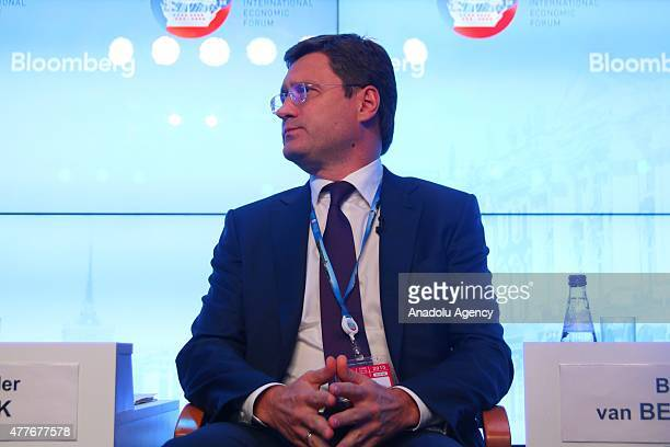 Alexander Novak Minister of Energy of the Russian Federation is seen during pressconference during St Petersburg International Economic Forum in...