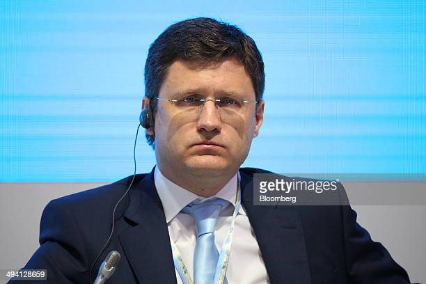 Alexander Novak Russia's energy minister pauses during a session at the St Petersburg International Economic Forum in Saint Petersburg Russia on...