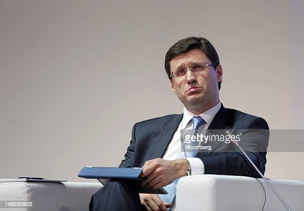 Alexander Novak Russia's energy minister reacts during a conference session on day one of the Saint Petersburg International Economic Forum 2012 in...