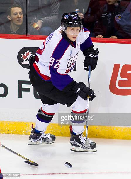 Alexander Nylander of Team Orr skates with the puck while playing against Team Cherry during the first period of their CHL/NHL Top Prospects game at...