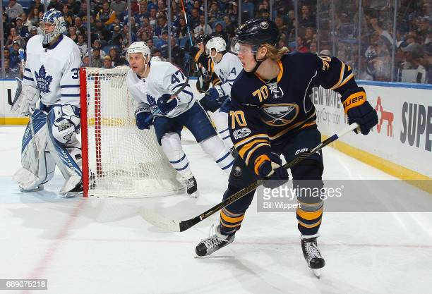 Alexander Nylander of the Buffalo Sabres skates against the Toronto Maple Leafs during an NHL game at the KeyBank Center on April 3 2017 in Buffalo...