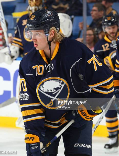 Alexander Nylander of the Buffalo Sabres skates in warmups prior to an NHL game against the Toronto Maple Leafs at the KeyBank Center on April 3 2017...