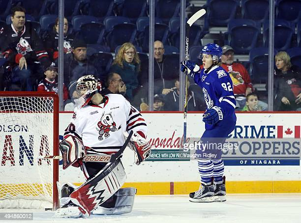 Alexander Nylander of the Mississauga Steelheads scores his first goal during an OHL game against the Niagara IceDogs at the Meridian Centre on...