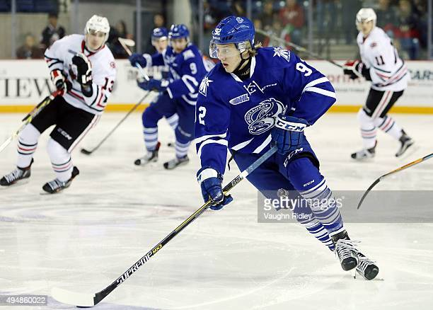 Alexander Nylander of the Mississauga Steelheads skates with the puck during an OHL game against the Niagara IceDogs at the Meridian Centre on...