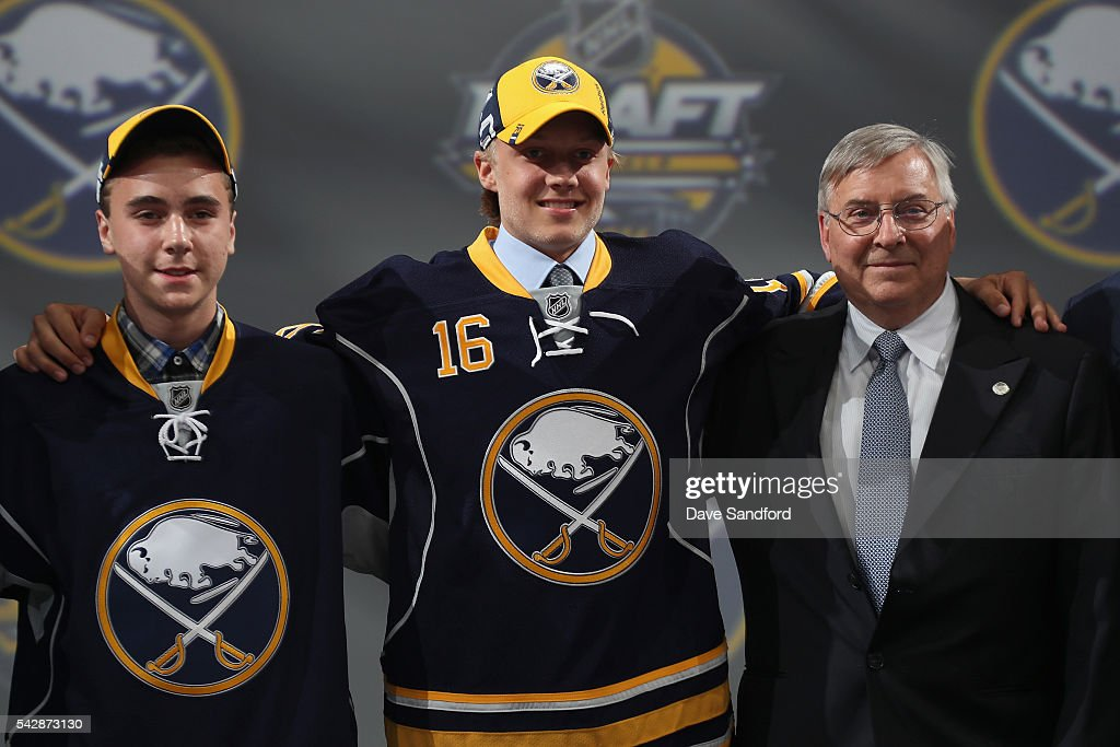 Alexander Nylander poses onstage after being selected eighth overall by the Buffalo Sabres during round one of the 2016 NHL Draft at First Niagara Center on June 24, 2016 in Buffalo, New York.