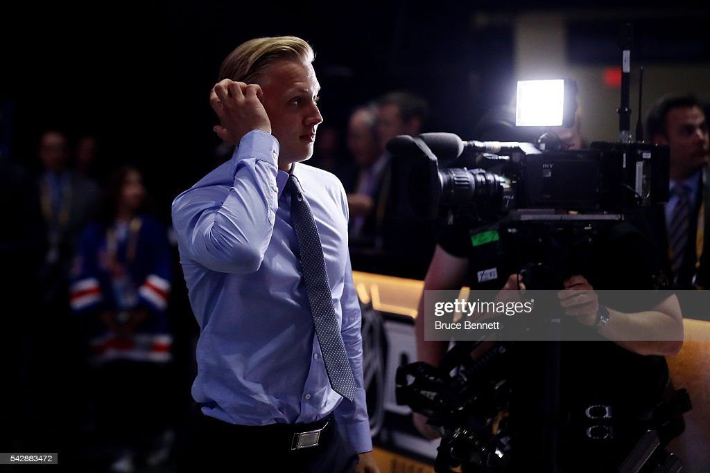 Alexander Nylander reacts after being selected eighth overall by the Buffalo Sabres during round one of the 2016 NHL Draft on June 24, 2016 in Buffalo, New York.