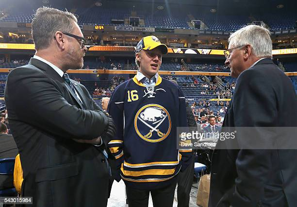 Alexander Nylander selected eighth overall by the Buffalo Sabres attends the second day of the 2016 NHL Draft at First Niagara Center on June 25 2016...