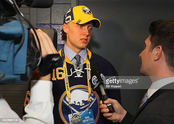 Alexander Nylander speaks to the media after being selected eighth overall by the Buffalo Sabres during round one of the 2016 NHL Draft at First...