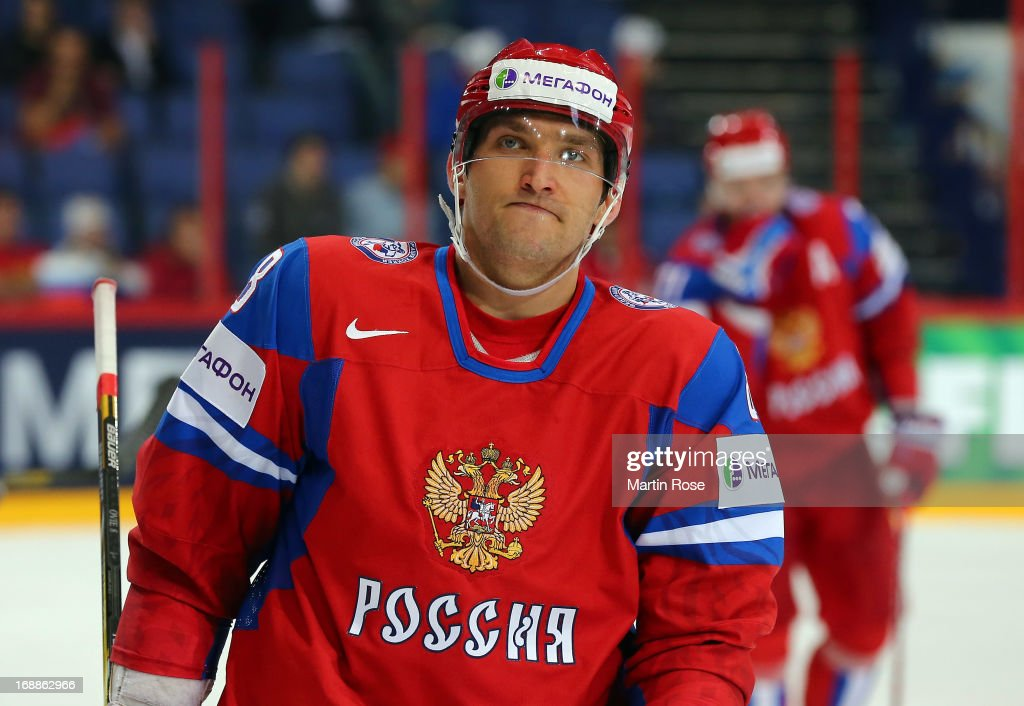 <a gi-track='captionPersonalityLinkClicked' href=/galleries/search?phrase=Alexander+Ovechkin&family=editorial&specificpeople=184488 ng-click='$event.stopPropagation()'>Alexander Ovechkin</a> of Russia reacts during the IIHF World Championship quarterfinal match between Russia and USA at Hartwall Areena on May 16, 2013 in Helsinki, Finland.