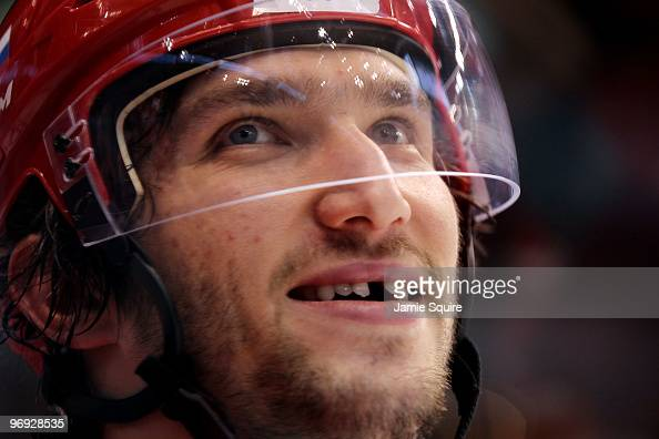 Alexander Ovechkin of Russian Federation smiles during warm ups for the ice hockey men's preliminary game against the Czech Republic on day 10 of the...