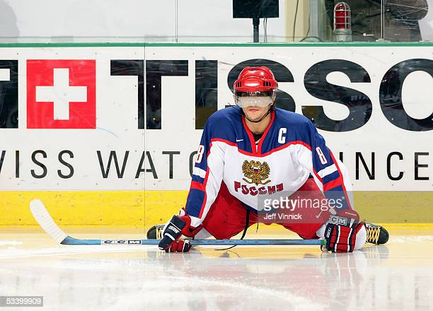 Alexander Ovechkin of Team Russia lays on the ice during the gold medal game against Team Canada at the World Junior Hockey Championships at the...