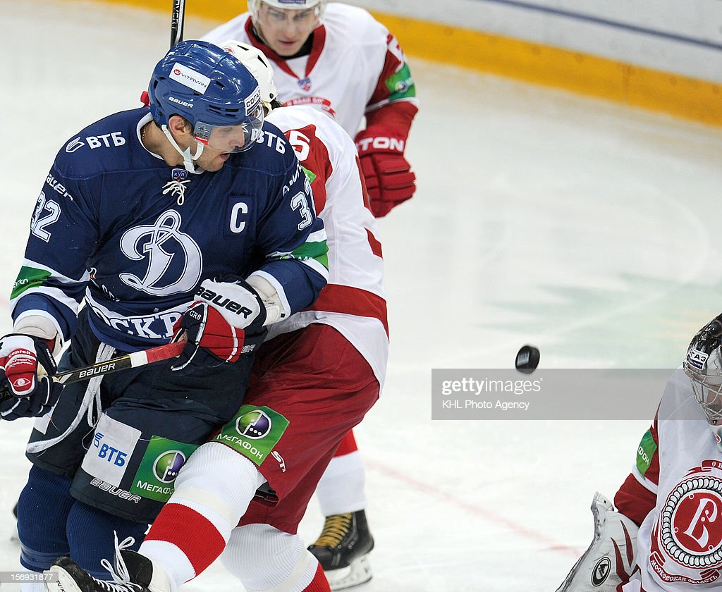 Alexander Ovechkin #32 of the Dinamo takes a shot on goal during the game between Vityaz Chekhov and Dinamo Moscow during the KHL Championship 2012/2013 on November 11, 2012 at the Arena Luzhniki in Moscow, Russia. The Dinamo won 2-3.