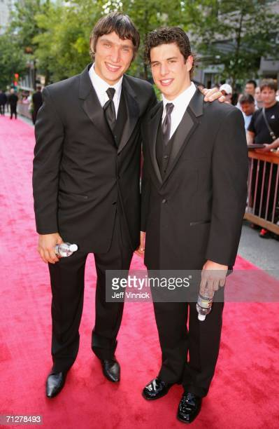 Alexander Ovechkin of the Washington Capitals and Sidney Crosby of the Pittsburgh Penguins arrive to the the NHL TV Awards Show at the Westin Grand...
