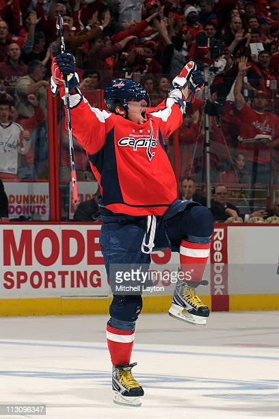Alexander Ovechkin of the Washington Capitals celebrates after he scores his team's second goal during the second period of Game Five of the Eastern...