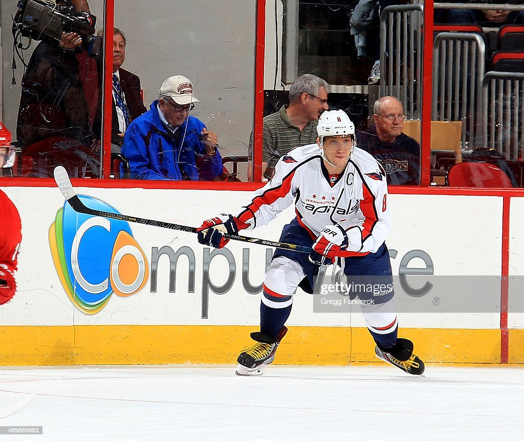 Alexander Ovechkin #8 of the Washington Capitals looks for a pass to fire a one timer during their NHL game against the Carolina Hurricanes at PNC Arena on April 10, 2014 in Raleigh, North Carolina.