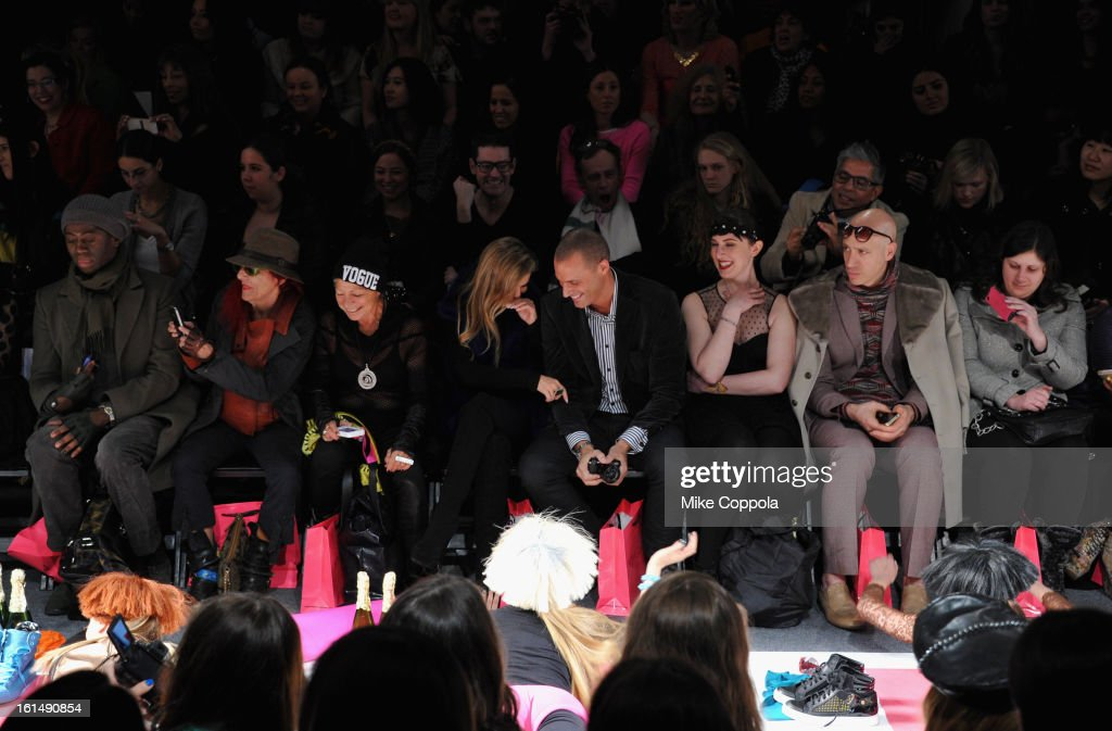 J. Alexander, Patricia Field, Carmen Electra, Nigel Barker, and Robert Verdi attend the Betsey Johnson Fall 2013 fashion show during Mercedes-Benz Fashion Week at The Studio at Lincoln Center on February 11, 2013 in New York City.