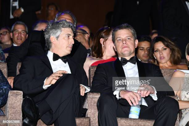 Alexander Payne and Matt Damon attend the 'Downsizing' screening and Opening Ceremony during the 74th Venice Film Festival at Sala Grande on August...