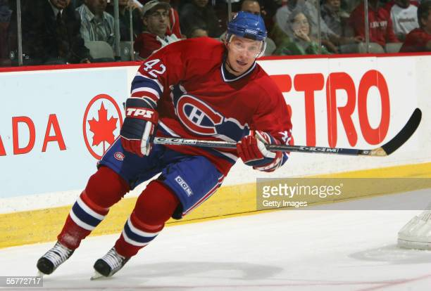 Alexander Perezhogin of the Montreal Canadiens skates against the Tampa Bay Lightning during the preseason NHL game on September 20 2005 at the Bell...