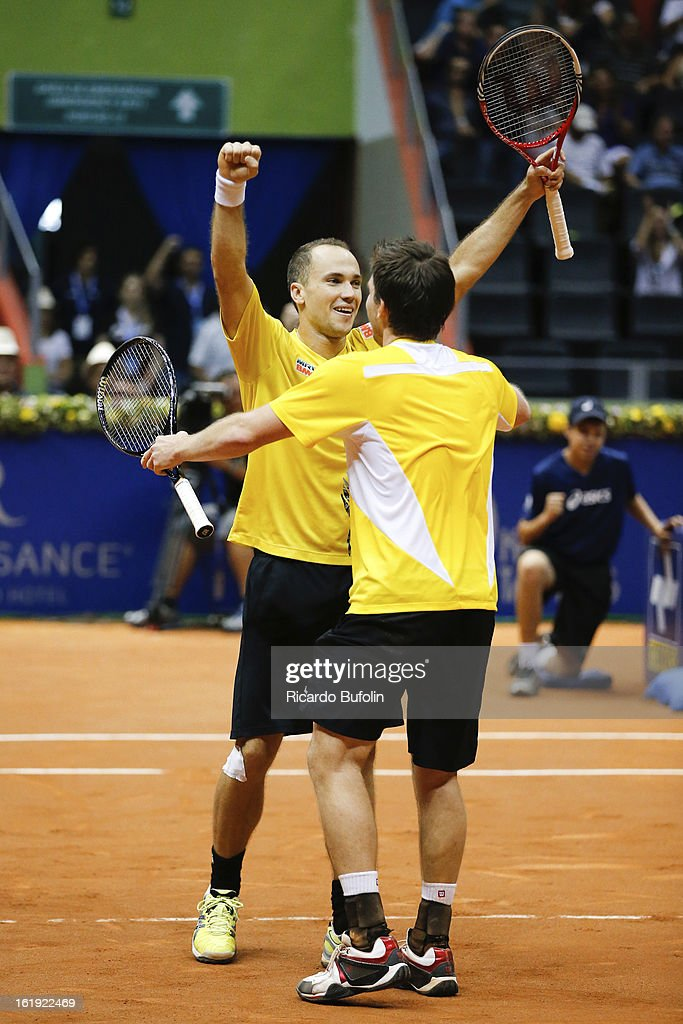 Alexander Peya from Austria and Bruno Soares from Brasil celebrate after winning the double final match against Frantisek Cermak from Czech Republic and Michal Mertinak from Slovakia, as part of the ATP Brazil Open on February 17, 2013, at Ibirapuera Gymnasium in Sao Paulo, Brazil.