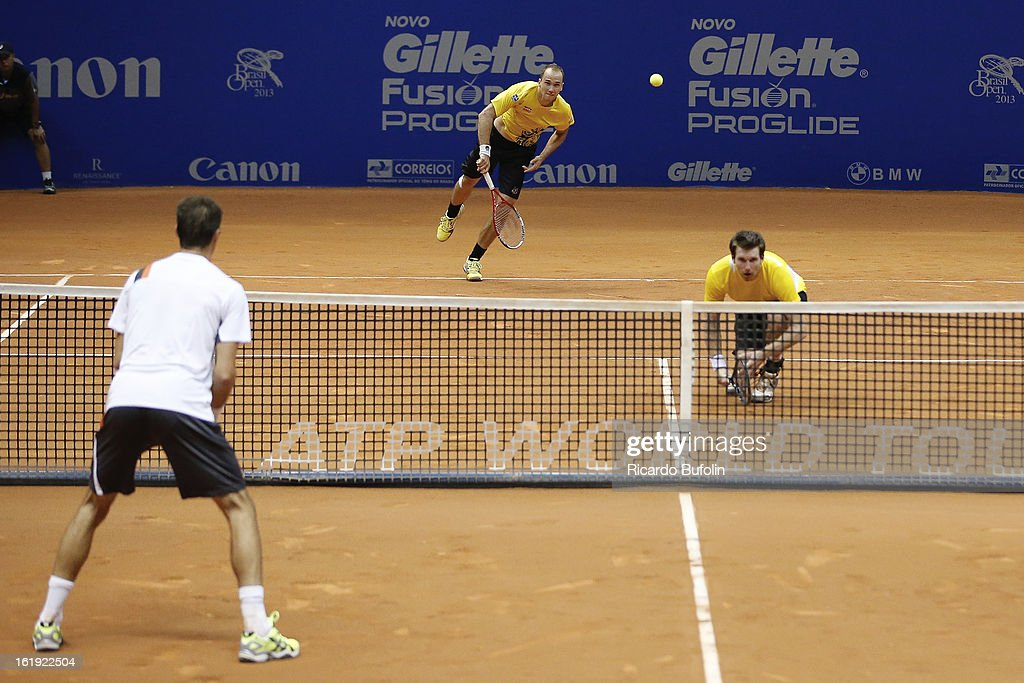 Alexander Peya from Austria and Bruno Soares from Brasil in action during the double final match against Frantisek Cermak from Czech Republic and Michal Mertinak from Slovakia, as part of the ATP Brazil Open on February 17, 2013, at Ibirapuera Gymnasium in Sao Paulo, Brazil.