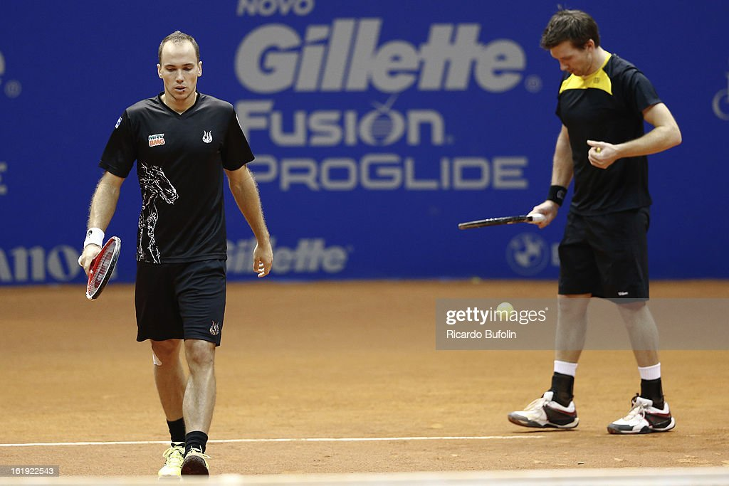<a gi-track='captionPersonalityLinkClicked' href=/galleries/search?phrase=Alexander+Peya&family=editorial&specificpeople=647128 ng-click='$event.stopPropagation()'>Alexander Peya</a> from Austria and Bruno Soares from Brasil in action during the double final match against Frantisek Cermak from Czech Republic and Michal Mertinak from Slovakia, as part of the ATP Brazil Open on February 17, 2013, at Ibirapuera Gymnasium in Sao Paulo, Brazil.