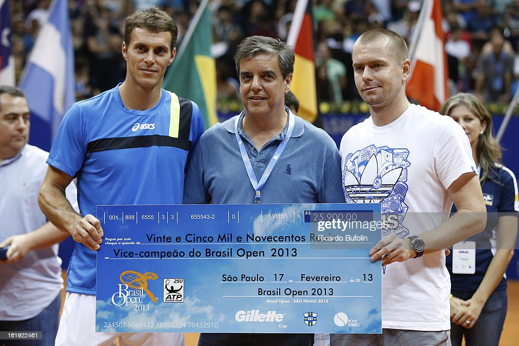 <a gi-track='captionPersonalityLinkClicked' href=/galleries/search?phrase=Alexander+Peya&family=editorial&specificpeople=647128 ng-click='$event.stopPropagation()'>Alexander Peya</a> from Austria and Bruno Soares from Brasil pose for a photo after winning the double final match against Frantisek Cermak from Czech Republic and Michal Mertinak from Slovakia, as part of the ATP Brazil Open on February 17, 2013, at Ibirapuera Gymnasium in Sao Paulo, Brazil.