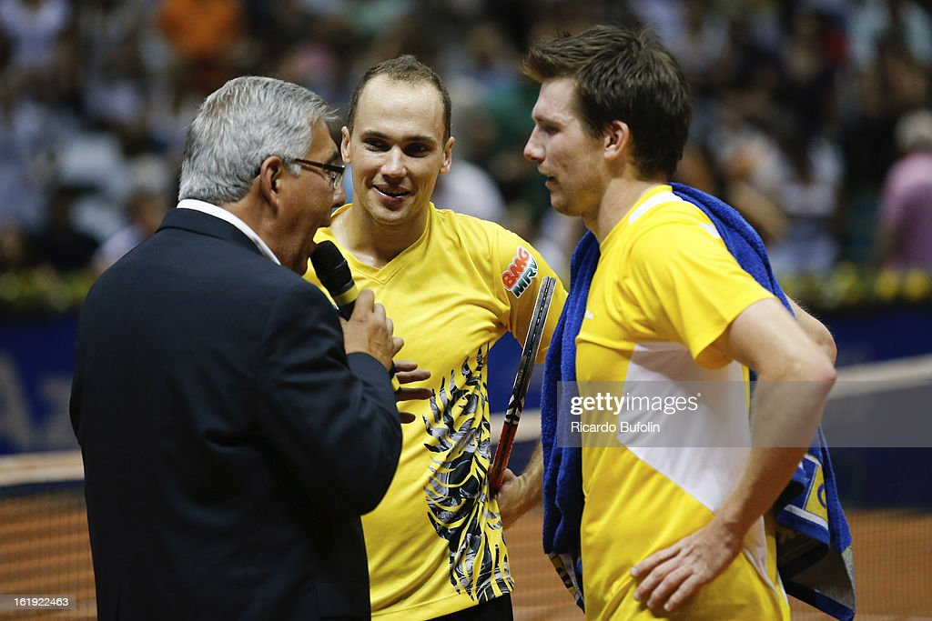 Alexander Peya from Austria and Bruno Soares from Brasil talk after winning the double final match against Frantisek Cermak from Czech Republic and Michal Mertinak from Slovakia, as part of the ATP Brazil Open on February 17, 2013, at Ibirapuera Gymnasium in Sao Paulo, Brazil.