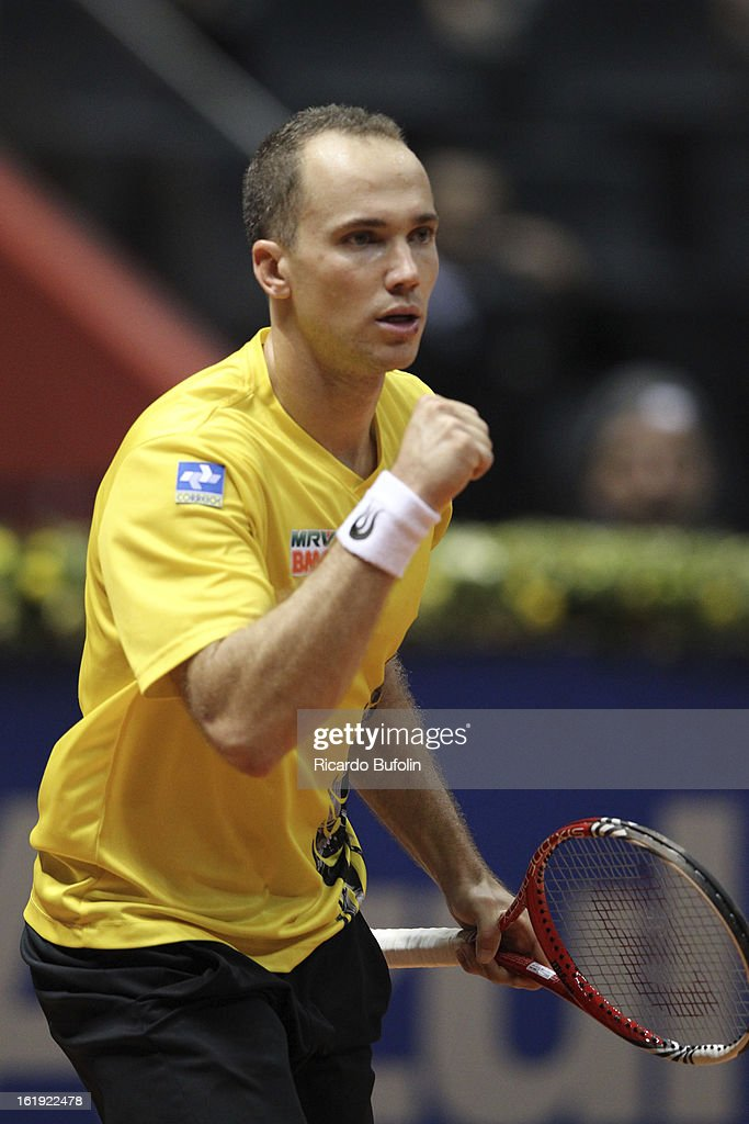 Alexander Peya from Austria celebrates during the double final match against Frantisek Cermak from Czech Republic and Michal Mertinak from Slovakia, as part of the ATP Brazil Open on February 17, 2013, at Ibirapuera Gymnasium in Sao Paulo, Brazil.