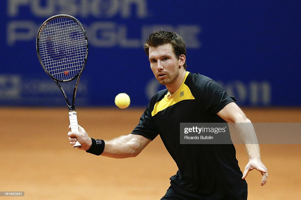 Alexander Peya from Austria in action during the double final match against Frantisek Cermak from Czech Republic and Michal Mertinak from Slovakia, as part of the ATP Brazil Open on February 17, 2013, at Ibirapuera Gymnasium in Sao Paulo, Brazil.