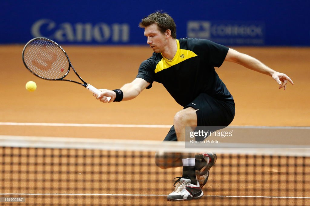 <a gi-track='captionPersonalityLinkClicked' href=/galleries/search?phrase=Alexander+Peya&family=editorial&specificpeople=647128 ng-click='$event.stopPropagation()'>Alexander Peya</a> from Austria in action during the double final match against Frantisek Cermak from Czech Republic and Michal Mertinak from Slovakia, as part of the ATP Brazil Open on February 17, 2013, at Ibirapuera Gymnasium in Sao Paulo, Brazil.