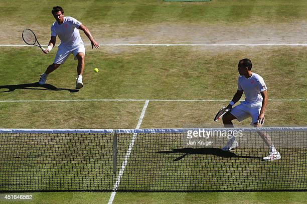 Alexander Peya of Austria and Bruno Soares of Brazil during their Gentlemen's Doubles QuarterFinal against Vasek Pospisil of Canada and Jack Sock of...