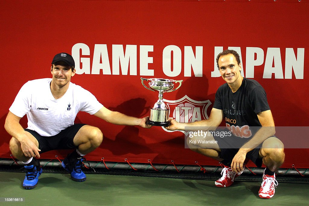 <a gi-track='captionPersonalityLinkClicked' href=/galleries/search?phrase=Alexander+Peya&family=editorial&specificpeople=647128 ng-click='$event.stopPropagation()'>Alexander Peya</a> of Austria and Bruno Soares of Brazil (R) pose with the trophy after playing Radek Stepanek of the Czech Republic and Leander Paes of India in the doubles final match during day seven of the Rakuten Open at Ariake Colosseum on October 7, 2012 in Tokyo, Japan.