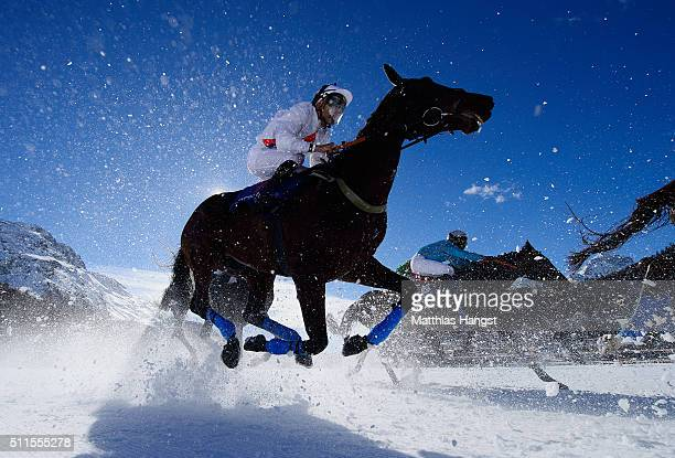 Alexander Pietsch riding Interior Minister competes during the Grosser Preis von St Moritz Flat Race of the White Turf St Moritz on February 21 2016...