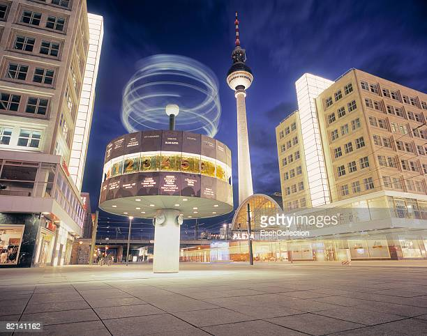 Alexander Platz with in front the world clock designed by Erich John and in the back, the fernsehturm.