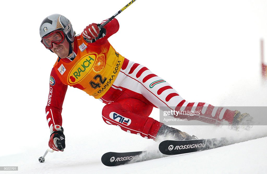 Alexander Ploner of Italy on his way to third place during the FIS Alpine Ski World Cup Men's Giant Slalom on February 28, 2004 in Kranjska Gora, Slovenia.