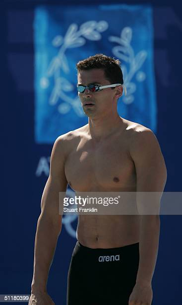Alexander Popov of Russia is seen before the men's swimming 100 metre freestyle heat on August 17 2004 during the Athens 2004 Summer Olympic Games at...