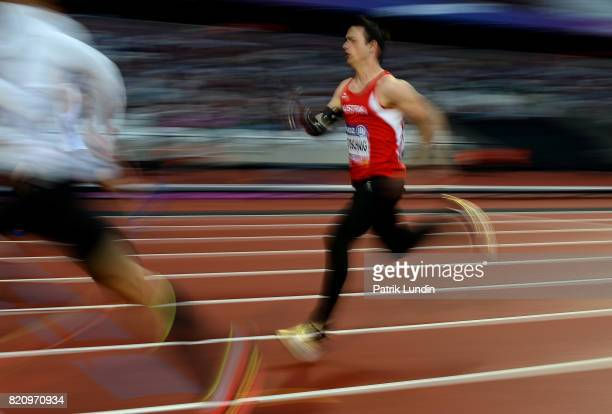 Alexander Pototschnig of Austria in action during the final of the mens 200m T47 on day nine of the IPC World ParaAthletics Championships 2017 at...